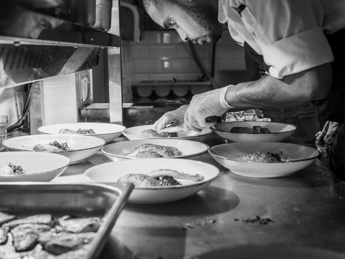Chef in black and white